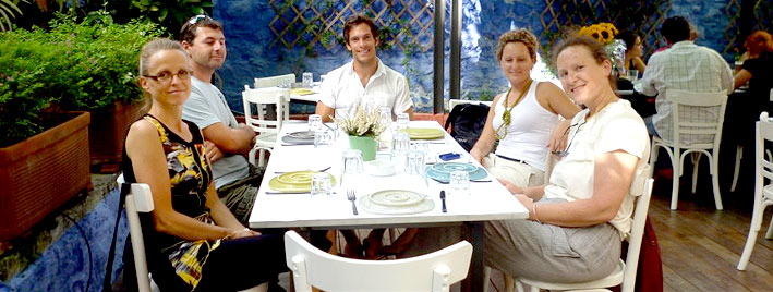 Having dinner in Athens, Greece