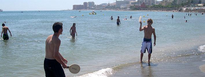 Playing in the sea in Benalmadena