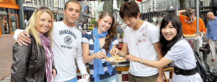 Students in Boston city centre