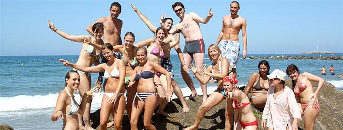 Students at the beach, Cadiz