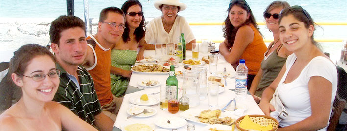 Students dining together in Crete