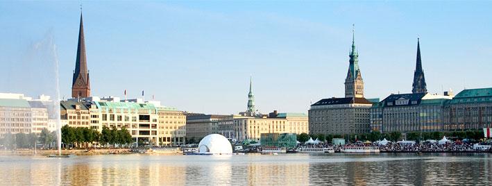 Hamburg Binnenalster and fountain