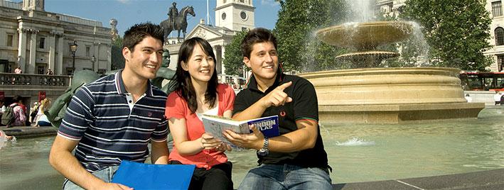 Students in Trafalgar square, London
