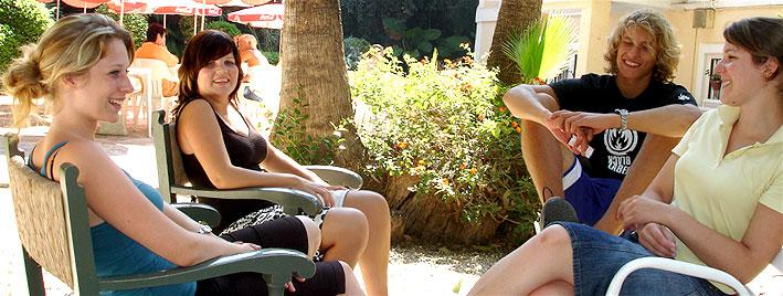 Relaxing in school grounds, Malaga