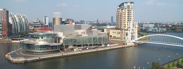 Aerial view of the Quays in Manchester