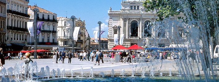 Montpellier square and fountain, France