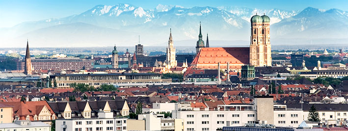 View of Munich and Bavarian Alps