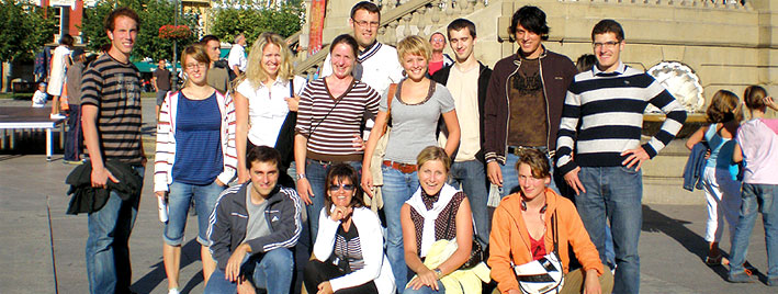 Spanish group exploring Pamplona