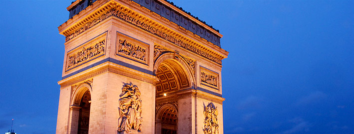 Arc de Triomphe at dusk, Paris
