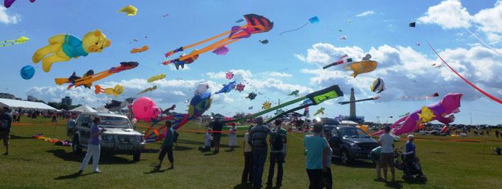 Flying kites in Portsmouth