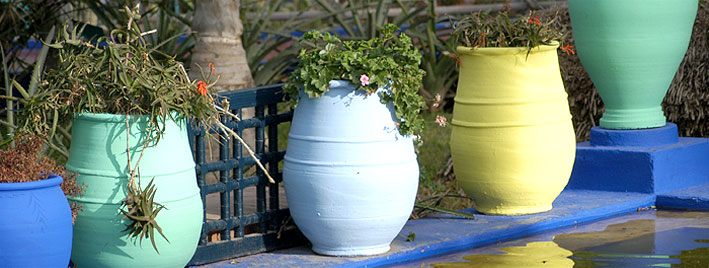 Colourful clay pots in Rabat