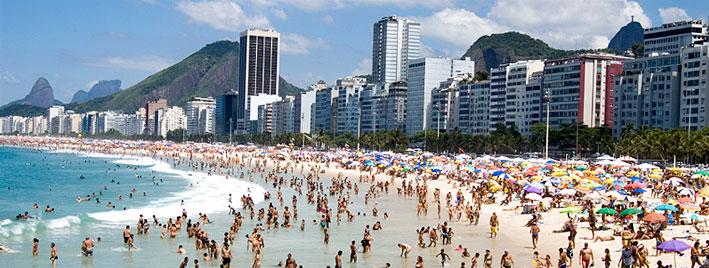 A busy Copacabana Beach, Rio de Janeiro