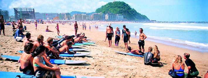 Learning to surf in San Sebastian