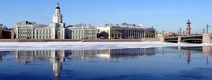 Russian winter scene in Saint Petersburg