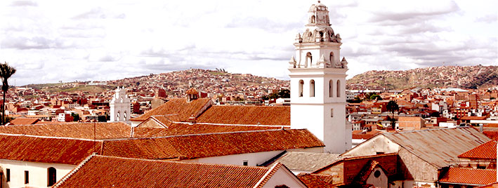 Church and rooftops in Sucre, Bolivia