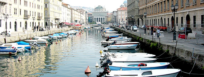 River with boats, Trieste, Italy