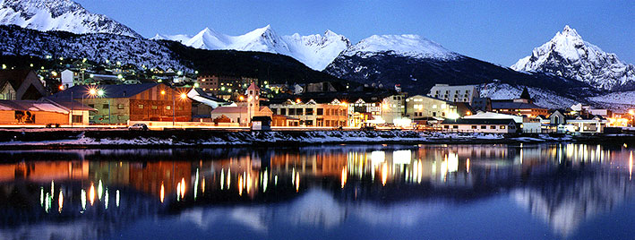 Ushuaia at night with Martial mountains